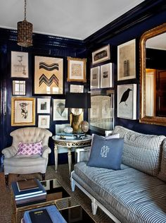 Blue is a huge trend in interiors at the moment- from bright and electric,  to green-tinged teals, to dusty and moody, blue is having a heyday in every  hue.  One way to incorporate this trend and guarantee its staying power is to go  with a classic navy. Whether layered with coordinating trim