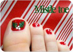 A Little Tipsy: Mistle-toe-Really cute idea for Christmas toes!