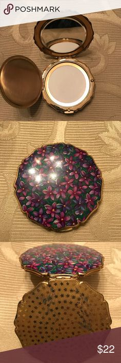 Vintage Stratton Compact Vintage Stratton Enamel Compact with beautiful purple flowers.  Mirrored with no powder.  Base has some wear Other