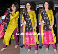 Anjali Tendulkar was spotted at the Mughal-e-Azam premiere in a full sleeved kurta paired with a purple chudidhar and ikat dupatta Indian Dresses, Indian Outfits, Ikkat Dresses, Churidar Designs, Indian Designer Suits, Indian Attire, Saree Blouse Designs, Dress Designs, Dress Patterns