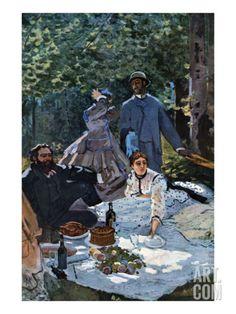 fr - Reproduction d'art 'The Breakfast Outdoors, Central Section' par Claude Monet Pierre Auguste Renoir, Edgar Degas, Claude Monet, Painting Prints, Canvas Prints, Art Prints, Bo Bartlett, Monet Paintings, Framed Art