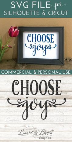 Choose Joy SVG File for SIlhouette & Cricut cutting machines. Includes DXF, EPS, and PNG files as well as small business commercial license. Silhouette School Blog, Silhouette Cameo Projects, Silhouette Design, Machine Embroidery Patterns, Embroidery Designs, Sign Maker, Choose Joy, Cricut Creations, Vinyl Projects