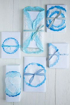 Doilies dipped in watercolors | At Home in Love