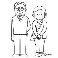老夫婦のイラスト(ぬりえ) Coloring Sheets, Coloring Pages, Cartoon Pics, Cartoon Picture, Family Drawing, Embroidery Stitches, Images, Clip Art, Drawings