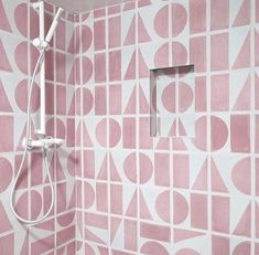 Pink split shift tiles from Bert and May