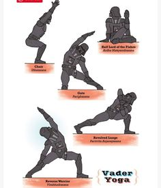 Do you love yoga ? Do you love Star Wars? Well, now you can have both thanks to this brilliant Star Wars Yoga Collection from Rob Osborne on Etsy :) Yoda, Luke Skywalker, Princess Leia, and even Darth Vader get their yoga on! Darth Vader, Stormtrooper, Chico Yoga, Warrior Yoga, Star Wars Personajes, Yoga Pilates, Yoga For Kids, Star Wars Characters, Boba Fett