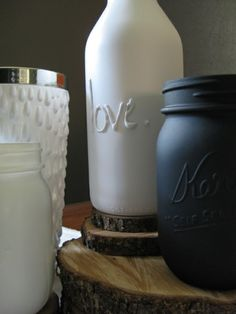 Use hot glue to add words or designs to jars, then give them a coat of spray paint. Just like the old fashiony kind! Love it!