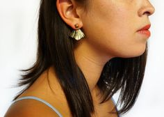 Metallic Gold & Black Painted Leather Ear Jackets by scandinazn