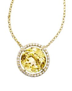 Lemon Quartz and Diamond Pendant Necklace in 18K yellow gold - Jane Taylor in the Precious Jewelry Fashion Dash at @Janet Stansberry Call Last Call by Neiman Marcus