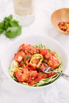 Zucchini Noodles and Shrimp with Spicy Vodka Sauce - Weight Watchers SmartPoints: 9 points