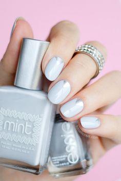 Beautiful grey and silver nails. By @sonailicious