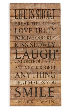 Second Nature by Hand 'Life is Short; Break the Rules' Repurposed Wood Wall Art available at #Nordstrom