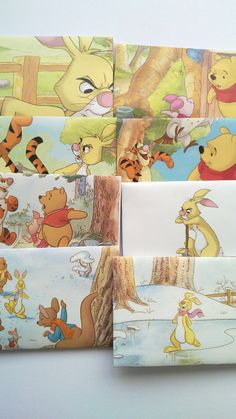 Set of 8 recycled envelopes from Winnie the Pooh book...I could make these with any pages from a favorite children's book.