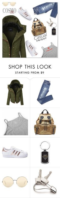"""""""casual Friday"""" by katymill ❤ liked on Polyvore featuring LE3NO, Burberry, adidas, Victoria Beckham, Georg Jensen, casual, parka, casualtrend and snapemade"""