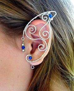 Pair of Silver Wire Elf Ear Cuffs with Blue Lapis by jhammerberg