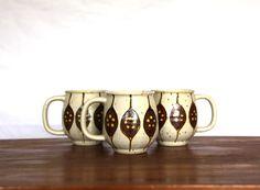 Vintage Boho 70s Ceramic Pottery Mugs Set of 3 by CaprockVintage, $14.00