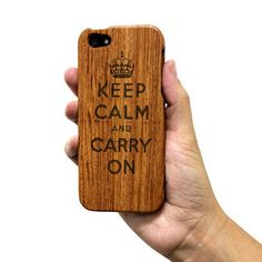 Keep Calm and Carry On Wooden iPhone Case by InnovationCraft, $17.95