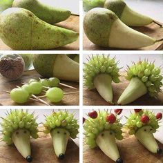 Deco fruit hedgehog animal... pear, grapes ( Healthy eating with a good amount of fiber from fruit helps kids poo and makes potty training easier! Love, #deeanddoo )