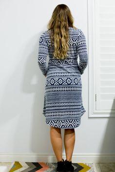tribal long sleeve pocket dress back