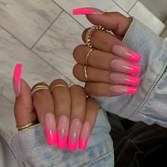 Cosmopolitan UK's edit of the best pink nails, from acrylics to gels, baby to neon, long to short. From baby, to neon. Pink Tip Nails, Pink Acrylic Nails, Neon Nails, Swag Nails, French Tip Acrylic Nails, Pink Acrylics, Long Square Acrylic Nails, Barbie Pink Nails, Bright Summer Acrylic Nails