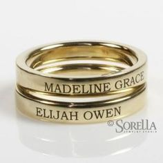 Engraved stackable rings with children's names// Going to get one of these....