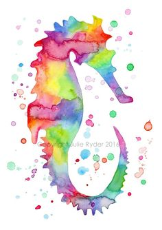 Julie Ryder: More Silouette Colourful Watercolours. Seahorse Tattoo, Seahorse Art, Octopus Art, Colorful Seahorse, Colorful Wall Art, Colorful Animals, Watercolor Print, Watercolor Paintings, Watercolour Drawings