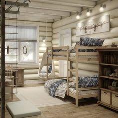 #каталогидей@dom.north.forest Функциональная детская в деревянном доме. В такой комнате будет вполне комфортно двум детям: есть место для того, чтобы размяться, отдохнуть с книгой, и конечно оборудованное у окна место для того, чтобы делать уроки. Комната в сдержанных тонах и при этом не выглядит скучной или тусклой. Фото: #pinterest #детская #игровая #деревянныйдом #домизбревна #дети #идея #дизайн #нордфорест #northforest