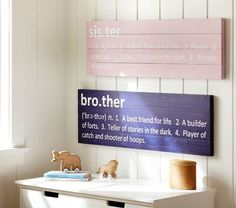 DIY Sister/Brother plaques - made by Pottery Barn -- for 59 bucks. Do it on the cheap with some wood/nails/paint and stencils!