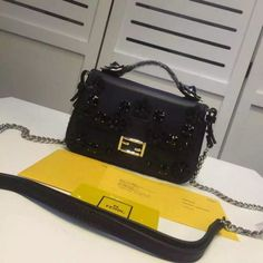 2016 S S Fendi Two-Tone Double Micro Baguette Bag with Flower-Studded  details 104d27ce5a50e