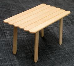 doll house table with popsicle sticks