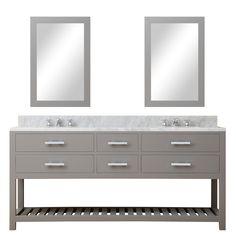 """Madalyn 72"""" Double Sink Bathroom Vanity Set with Mirror"""