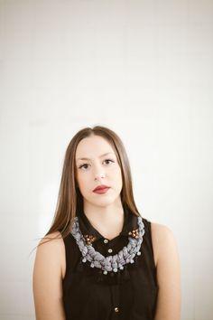 elena gina handmade creations grey necklace girl black vintage style photography