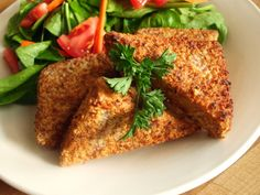 Almond Crusted Tofu | If stir-frying is your go-to method of cooking tofu it's time to switch it up and try this delicately flavoured, crispy-crunchy method of preparing tofu. Amazing dipped in your favourite sweet chili sauce! | www.ilovevegan.com