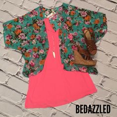 Perfect outfit to stay cute and cool on a HOT Day!!! Sold pink dress $28.99 floral sheer cardigan $28.99 tan wedges $28.99 and arrowhead necklace $21.99 #bedazzledokc #boutique #womensboutique #okcboutiques #Okc #floral