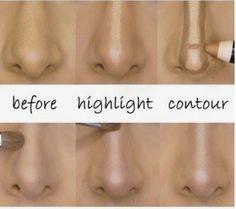 Make up contour makes the nose on your face look nothing like the nose on your face. Nose Contouring, Contour Makeup, Contouring And Highlighting, Skin Makeup, Strobing Makeup, Concealer, How To Contour Nose, Makeup Ideas, Makeup Ideas