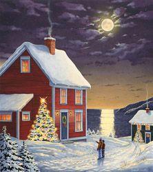 Beautiful Newfoundland artwork captured by artist Dave Hoddinott Christmas Scenes, Christmas Pictures, Christmas Art, Vintage Christmas, Christmas Holidays, Newfoundland And Labrador, Newfoundland Canada, Red Cottage, Canadian Art