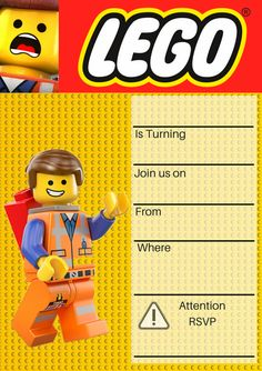 Lego Movie Party Invitation Now available in our Invitation library, Emmet Lego Movie Invitations. Lego Movie Party, Lego Movie Birthday, Lego Themed Party, Lego Banner, Lego Birthday Invitations, Kids Birthday Party Invitations, Birthday Ideas, Birthday Cakes, Lego Emmet