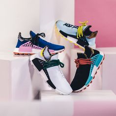 pretty nice f385c 948fd is dropping four brand new Colorways of the Pharrell Williams x adidas HU  Race NMD. Jasmine Jeter · Running Shoes
