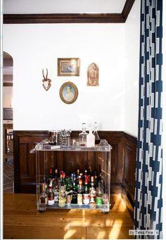 Bar: Lucite, Brimfield Antiques Show; curtains: West Elm