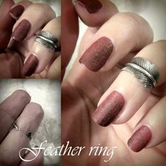 Hand made knuckle feather ring in antique silver