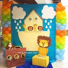 Maria Pompom 's Birthday / Birthday - Photo Gallery at Catch My Party Noahs Ark Cake, Noahs Ark Party, Noahs Ark Theme, Noahs Arc, 1st Birthday Photos, Baby First Birthday, Birthday Ideas, Birthday Parties, Dedication Ideas