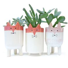 Three Fox Plant Pots - White and Orange Ceramic Fox Planters