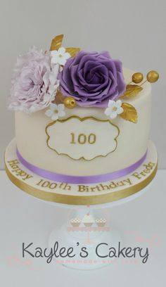 100th birthday cake with rose and david austin rose in mavue purple and gold - Birthday Cake Decorations