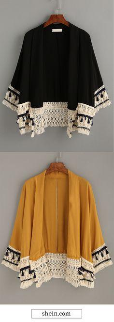 Tassel Trimmed Kimono Collect.