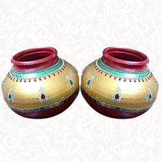 Wedding Pots-Garigamunthalu With Out Lid Golden-Maroon Pottery Painting Designs, Paint Designs, Kalash Decoration, Coconut Decoration, Jay Mataji, Marriage Decoration, Flower Rangoli, Wedding Plates, Bunny Crafts