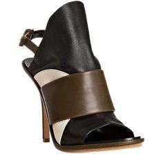 Balenciaga     army leather colorblock slingback sandals