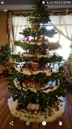 2019 Christmas Village Display Tree Designs] - Home Decoration Christmas Tree Village Display, Christmas Candle Decorations, Christmas Villages, Christmas Candles, Gold Christmas, Simple Christmas, Xmas Tree, Christmas Holidays, Merry Christmas