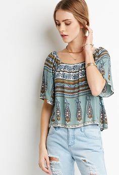 Floral Paisley-Striped Top   Forever 21 - 2000096093
