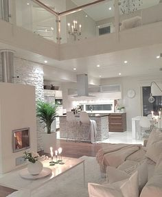 Try To Decorating With Luxury White Living Room Design 01 - Home Decor Design Dream Home Design, Modern House Design, Home Interior Design, Modern Interior, Modern Luxury, Minimalist Interior, White House Interior, Chalet Interior, Luxury Loft