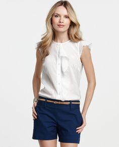 Ann Taylor - AT Sale Knits Tees - Silk Cotton Flutter Sleeve Button Down Shirt